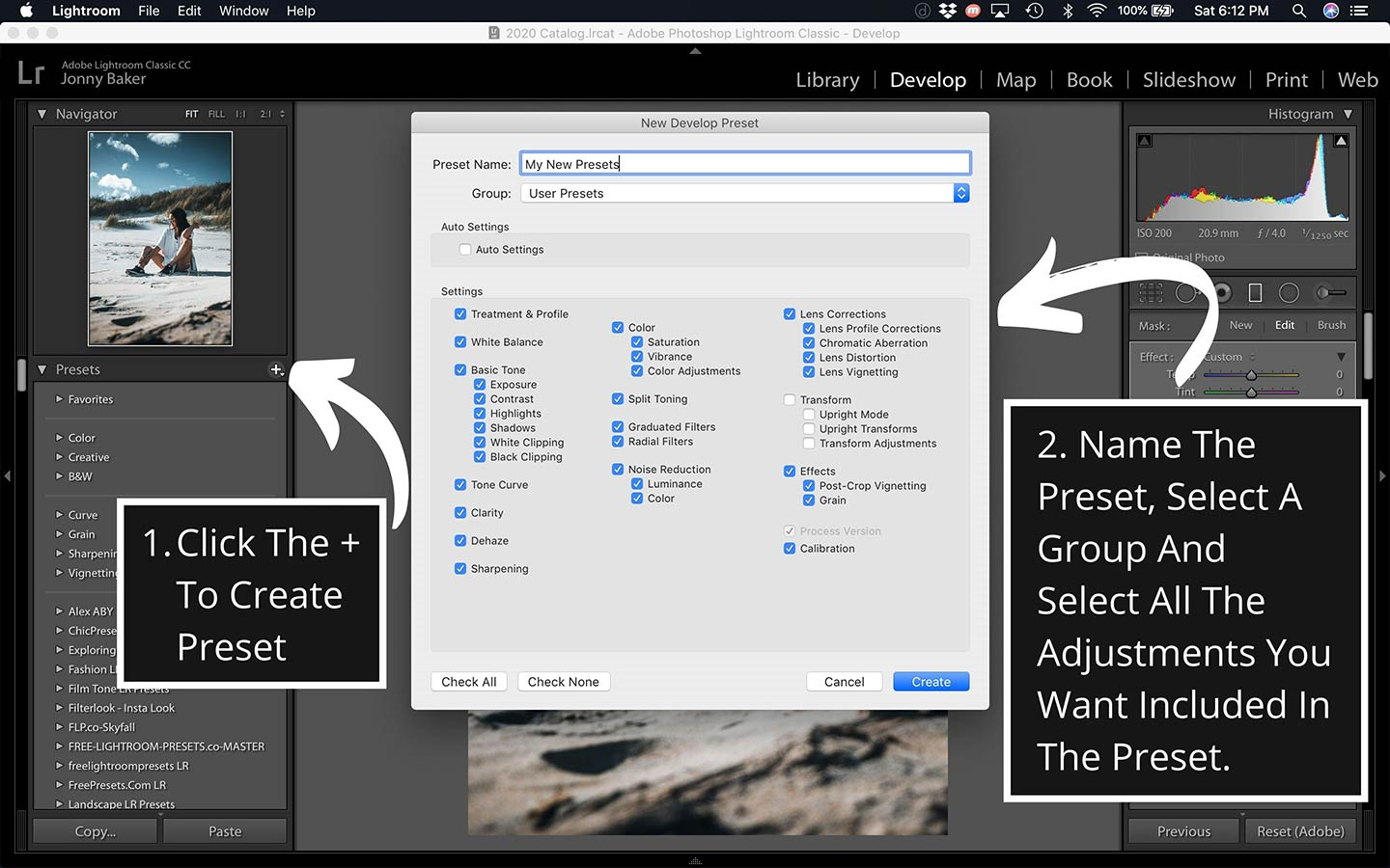 This printscreen from the desktop program shows how easily save new presets that you make.