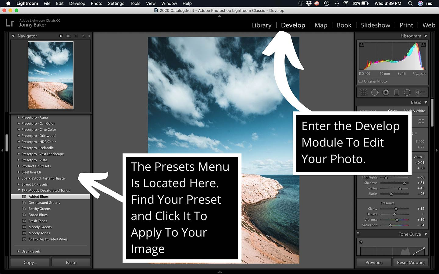 A printscreen that shows how to apply a preset using the desktop program an important part of this Lightroom presets guide.