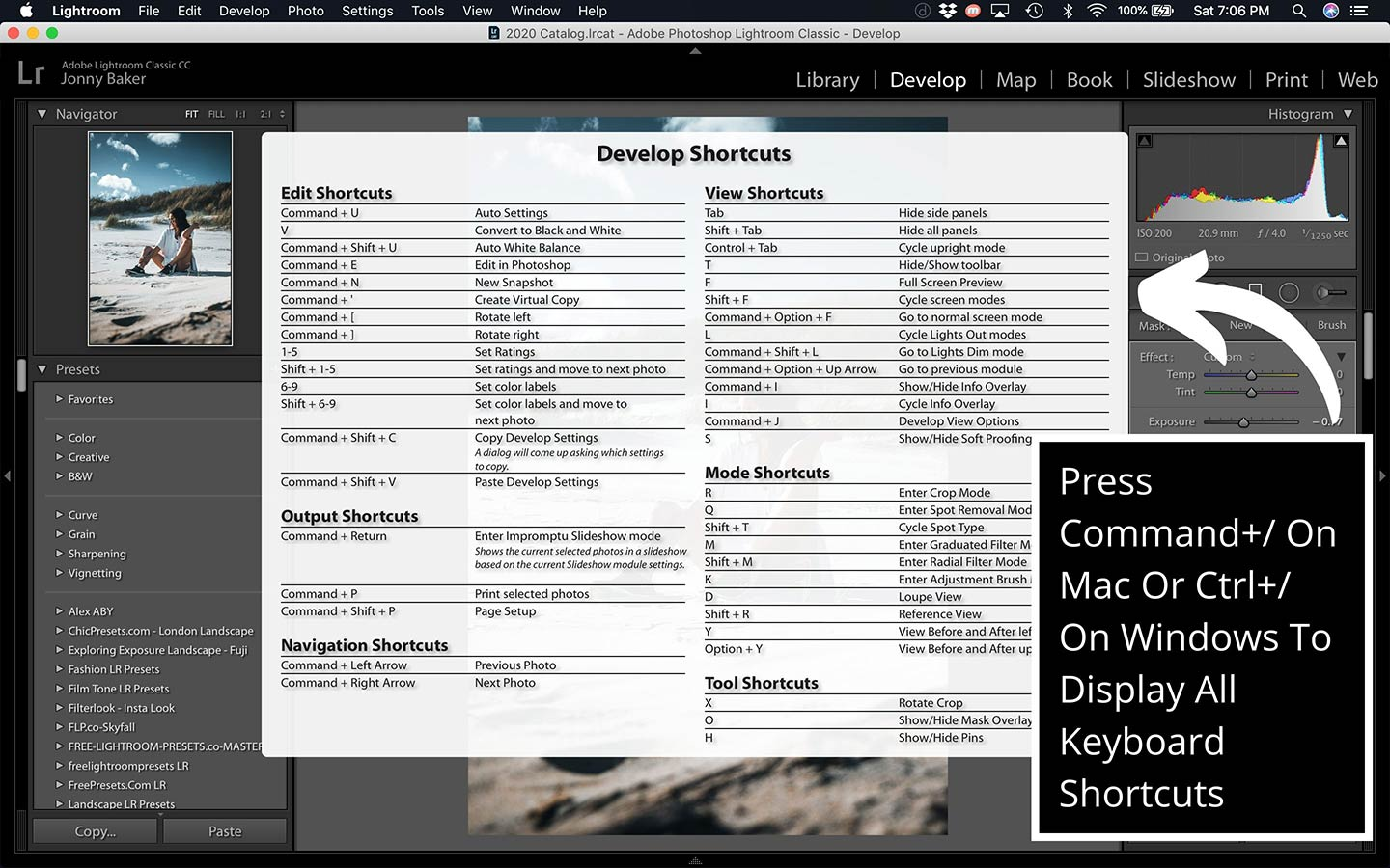 This printscreen from the desktop program shows how you can display all the keyboard shortcuts easily.