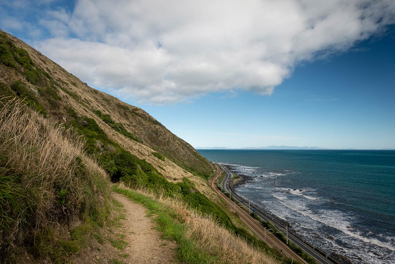 A walking track leads to the left towards the hills. To the right a road runs along side the ocean and coastline.