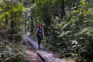 A women walking along a wooden path with a red hiking pack on her back. She is surrounded by lots of lush green forest.